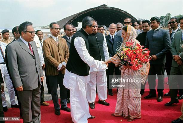 Mrs Indira Gandhi Prime minister of India and Premier Mujibur Rahman of Bangla Desh at close of Mrs Gandhi's visit here where they signed the treaty...