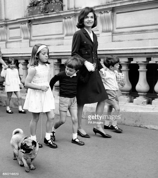 Mrs Jackie Kennedy the wife of the late American President John F Kennedy with her son John Jr and daughter Caroline with their cousin Anthony in...