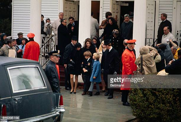 Mrs Jacqueline Kennedy Onassis leaves St Francis Xavier Church after funeral services for her former fatherinlaw Joseph P Kennedy who died November...