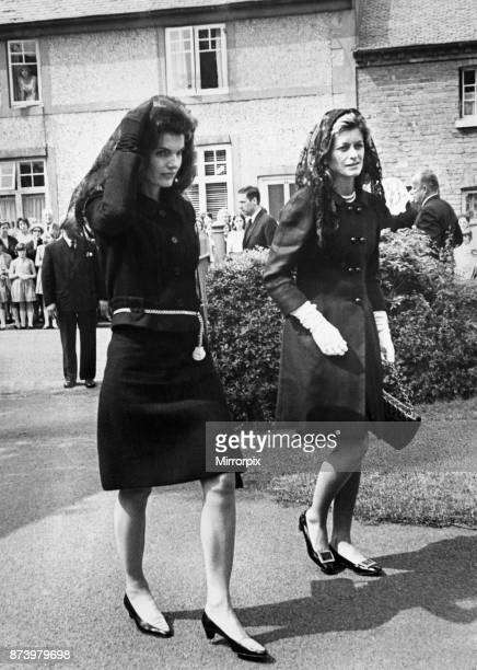 Mrs Jacqueline Kennedy widow of slain American President John F Kennedy arrives at Owestry Roman Catholic Church for the funeral of Lady Harlech...
