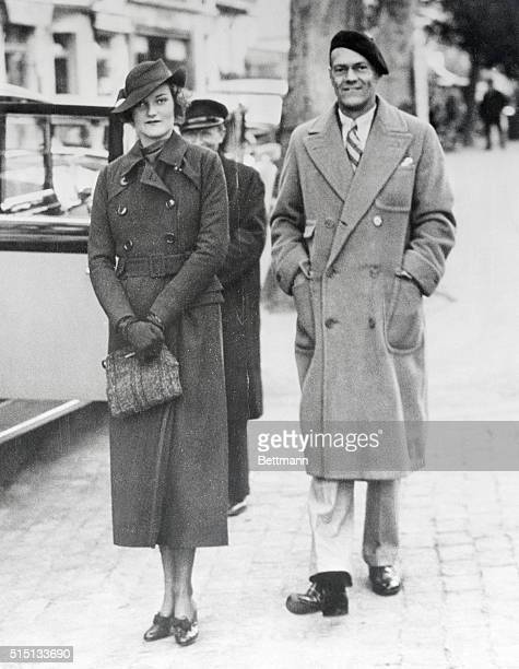 Mrs James HR Cromwell the former Doris Duke heiress to the Duke tobacco millions and her husband shown at Cannes France as they left on a voyage to...