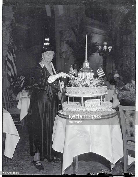 Mrs James Roosevelt mother of the President is pictured as she cut a birthday cake for the President which was the center of activities at a special...