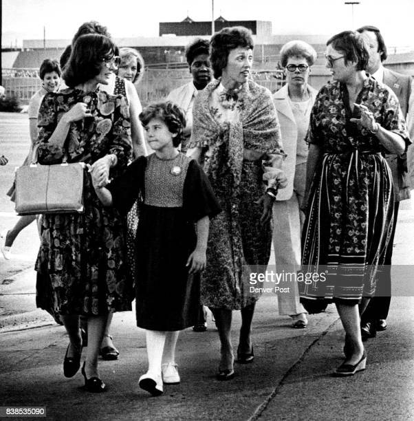 Mrs Joan Mondale Second From Right Is Escorted Around Historic Denver Area She's with US Rep Pat Schroeder and daughter Jamie and Mrs Dana Crawford...