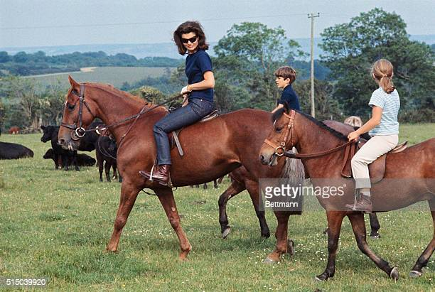 Mrs John F Kennedy accompanied by her children Caroline and John Jr appear at press conference here June 16th on horseback They are in Ireland on a...