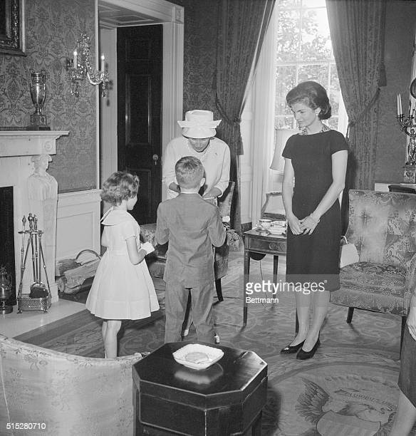 Mrs John F Kennedy First Lady of the United States and Mrs Alan B Shepard Jr America's First Lady of Space pose at the White House here today where...