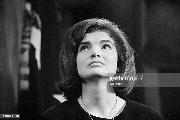 Mrs John F Kennedy is shown in the office of Attorney General Robert Kennedy today where she made her first public statement since the late...