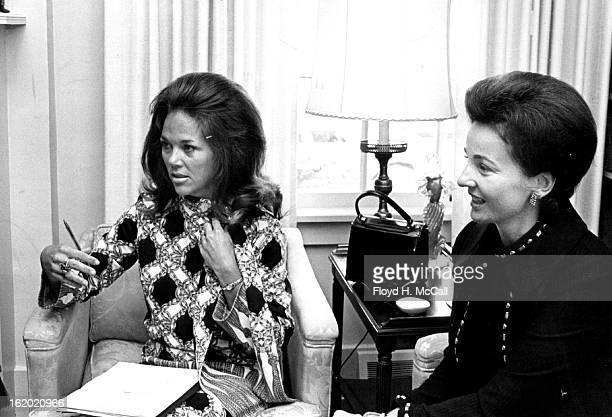 MAY 5 1971 MAY 9 1971 Mrs John Fuller left and Mrs R Edgar Johnson explain their advertising sales efforts for the Sept 12 magazine now in preparation