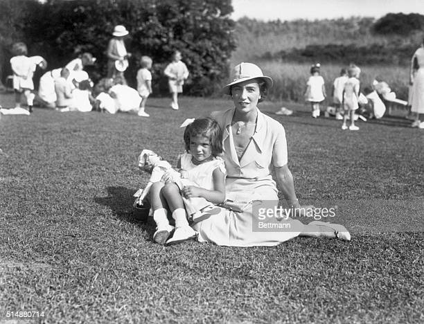 Mrs John V Bouvier 3rd and daughter Jacqueline at their East Hampton home