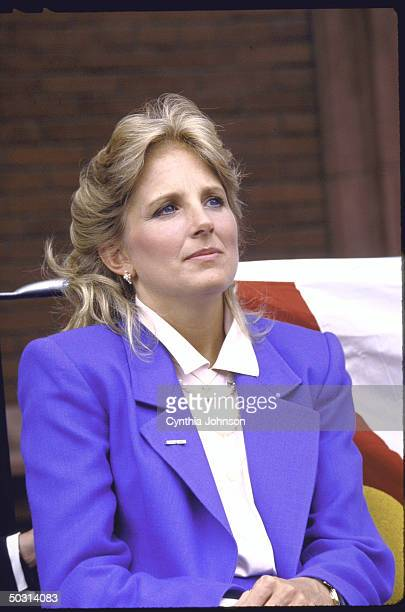 Mrs Joseph R Biden Jr listening as husband announces his candidacy for the Democratic presidential nomination