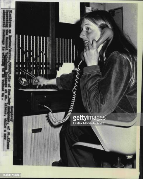 Mrs Judy Humphrey of St Albans operating the manual Telephone Exchange at St Albans while a new automatic exchange is waiting to be turned on June 27...