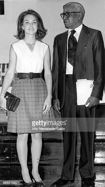 Mrs Julie Nixon Eisenhower President Nixon's daughter with Whitney M Young Snr after opening a manpower centre as a memorial to the late Whitney M...