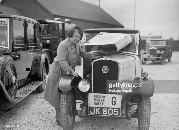 Mrs JW McClintock with her Triumph saloon at the BHMC Brighton Motor Rally 1930 Artist Bill Brunell