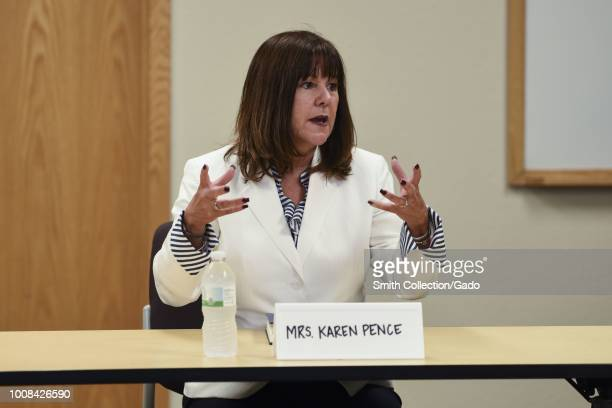 Mrs Karen Pence, the Second Lady of the United States, speaks to military spouses on Grand Forks Air Force Base, North Dakota, July 25, 2018. Image...