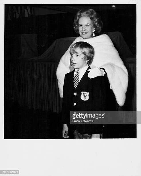 Mrs Kay Gable and her son John the family of actor Clark Gable at the premiere of the movie 'The Cowboys' May 1972