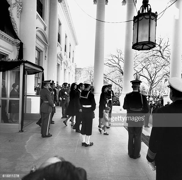 Mrs Kennedy and children leave the White House for the funeral of President John F Kennedy November 25 1963