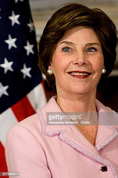 Mrs. Laura Bush being welcomed by Italian Prime Minister Silvio Berlusconi on her arrival at Villa Madama.The wife of US president George Bush is in...