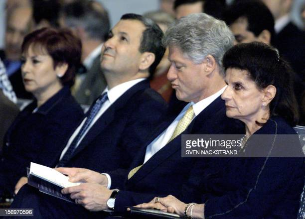 Mrs. Leah Rabin , US President Bill Clinton , Israeli Prime Minister Ehud Barak and his wife Nava , during the memorial ceremony held for late...