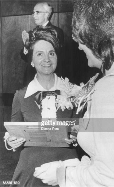 Mrs Lena Archuleta Holds Her Plaque Others are Judge David Brofman and Miss Catherine Carpenter a student escort at Civis Princeps presentation...