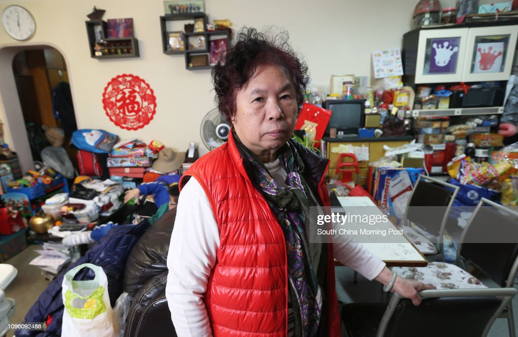 Mrs Leung Yen-cheung a public housing tender at her home in Wang Tau