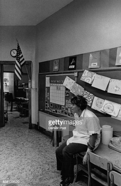 Mrs Madlen Barela takes breathes in classroom that was already remodeled Credit Denver Post