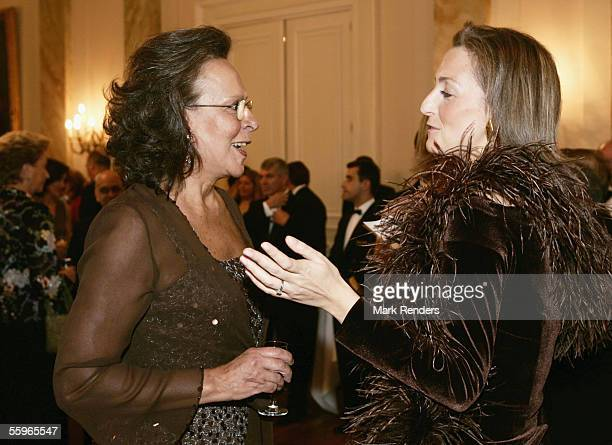 Mrs Maria Jose Ritta talks with Princess Claire of Belgium during a reception at the Cercle Gaulois in Brussels on October 19 2005 in the Belgian...