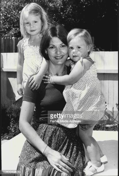 Mrs Marie Greenwell with her two children Anna and Jessica October 26 1978
