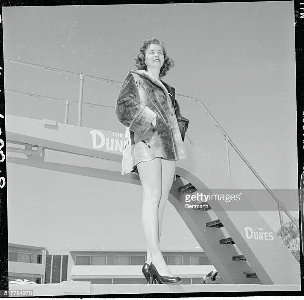 Mrs Marilyn Barnett who was named Mrs Fairbanks Alaska in the annual Jaycee contest in Fairbanks is enjoying the Nevada sun at the Dunes' pool in Las...