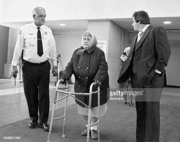 Mrs Marion Gacy mother of mass sexmurder suspect John Wayne Gacy leaves courtroom after testifying in the trial of her son During testimony she wiped...