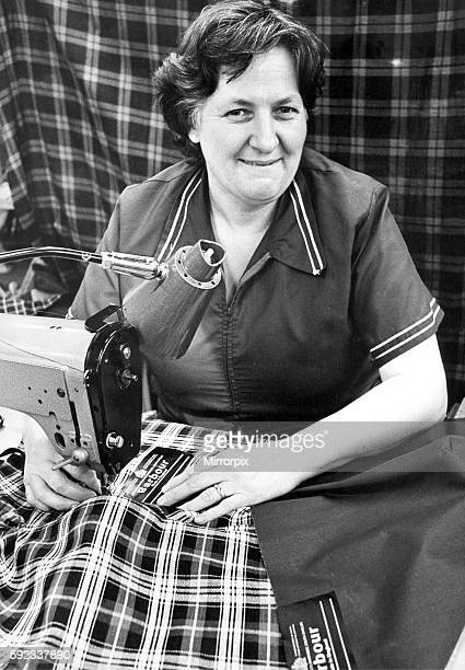Mrs. Marjorie Landles a the J Barbour factory making the all weather Game Fare breeches for Her Majesty the Queen in 1979