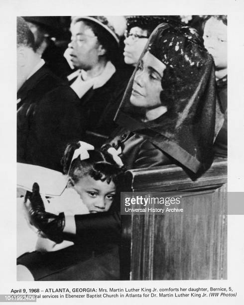 Mrs Martin Luther King Jr Comforting Daughter Bernice during Funeral Services for Dr Martin Luther King Jr Abenezer Baptist Church Atlanta Georgia...