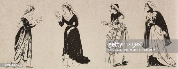 Mrs Meg Page Mrs Alice Ford Mrs Quickly and Mrs Alice Ford costumes for the first execution of Falstaff by Giuseppe Verdi at La Scala of Milan...