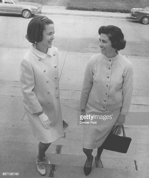 Mrs Melvin Johnson left and Mrs William Millett arrive at Phipps Auditorium for recent matinee concert They are devoted supporters of the Symphony...