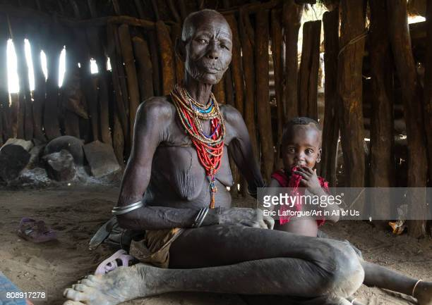 Mrs Moko who had to kill ten children she had before her wedding and who were mingis Omo valley Korcho Ethiopia on June 11 2017 in Korcho Ethiopia