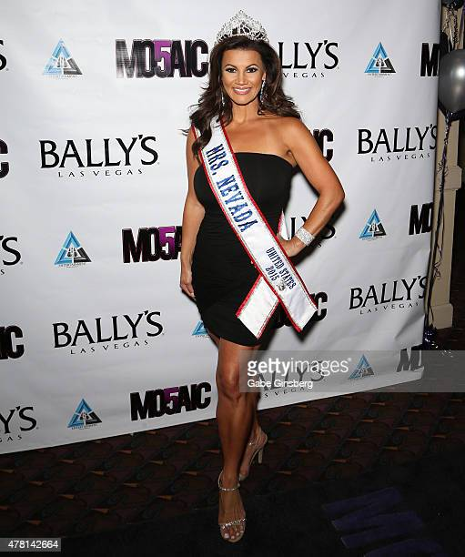 Mrs Nevada United States 2015 Jadee Mangel attends opening night of the a cappella group Mo5aic's residency at Bally's Las Vegas on June 22 2015 in...