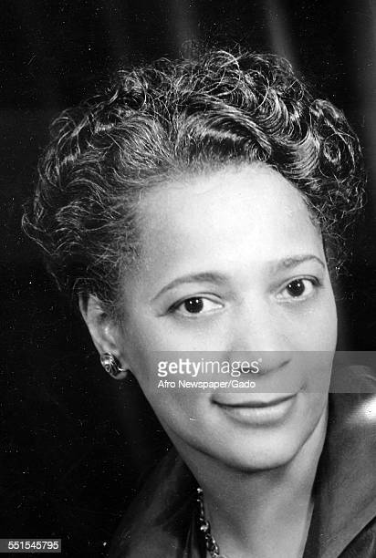 Mrs Nichols head and shoulders portrait of a glamorous AfricanAmerican woman 1950