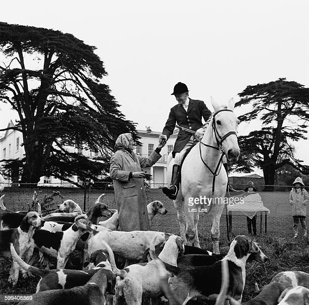 Mrs Pat Cullen serves refreshments to the Enfield Chace Hunt, UK, 4th November 1967.