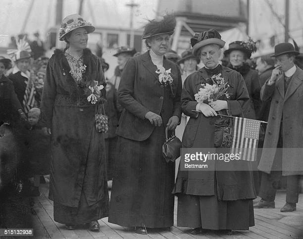 Mrs PethickLawrence Miss Jane Addams of Chicago and Mrs L Post and a number of other delegates sailed on the SS Noordam to attend the international...