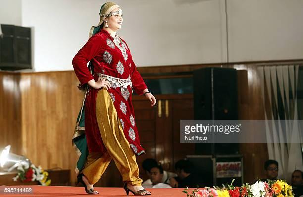 Mrs Preeti RajShekhar wife of IAS Mr RajShekhar District Magistrate of Lucknow walks on a ramp during a fashion Show in 3 days IAS week Summit 2016...