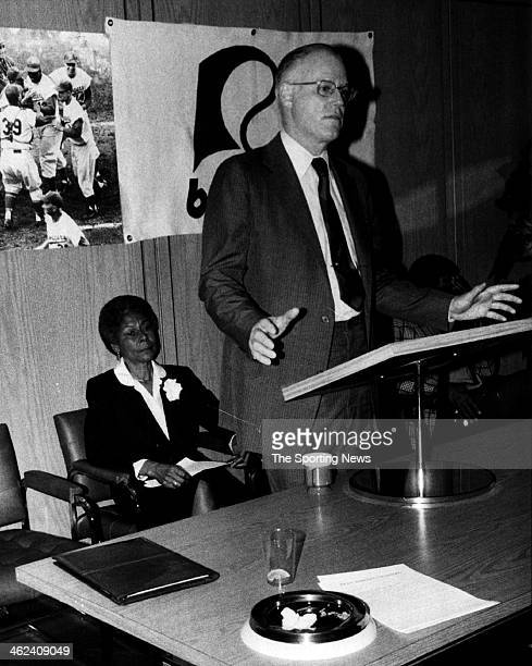 Mrs Rachel Robinson the widow of Jackie Robinson and Major League Commissioner Bowie Kuhn at press conference circa 1978