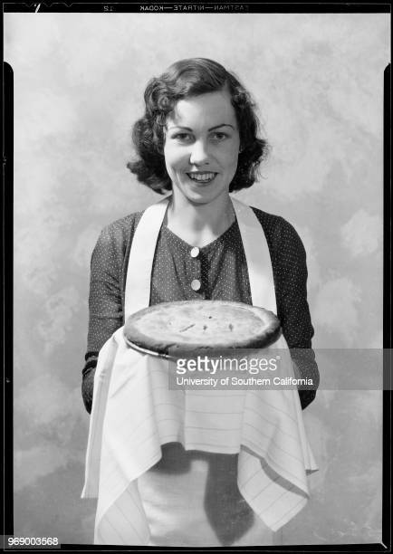 Mrs Ralph D McCulloch Jr 1755 Campus Road Eagle Rock holding pie Los Angeles California 1931