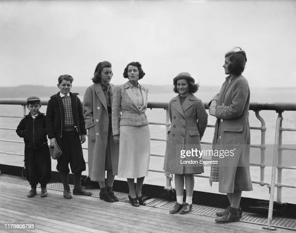 Mrs Rose Kennedy with five of their children Kathleen Kennedy Patricia Kennedy Jean Kennedy Robert Kennedy and Edward Kennedy aboard the SS Manhattan...