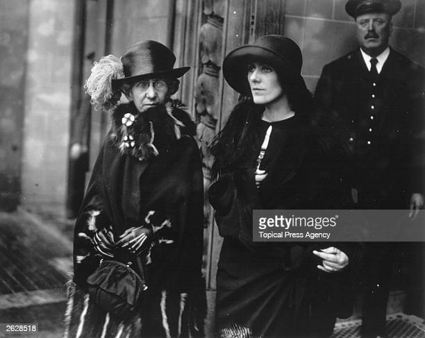 Mrs Russell with her mother Mrs Hart leaving court after a hearing during her divorce case