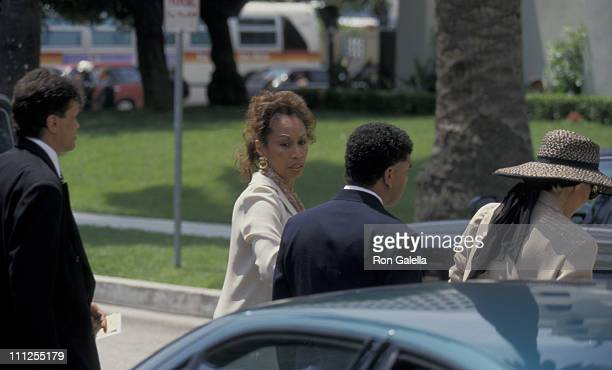 Mrs Sammy Davis Jr Altovise and guests during Funeral of Frank Sinatra at Little Shepherd Catholic Church in Beverly Hills California United States
