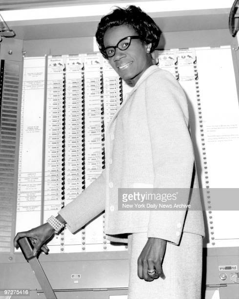 Mrs Shirley Chisholm in voting booth at Bethany Church 1208 St Johns Place Brooklyn Chisholm is running against James Farmer for 12th Congressional...