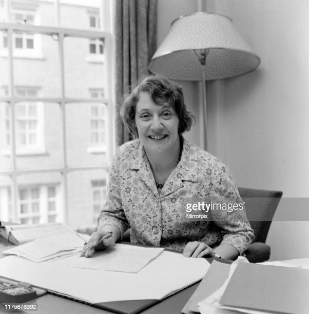 Mrs Shirley Williams at her desk at the Ministry of Labour at St James Square 6th April 1966