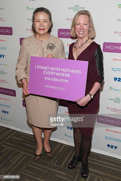 Mrs Soontaek Ban wife of the Secretary General of the United Nations and Kathy Calvin CEO of the United Nations Foundation attend the Mom Social...