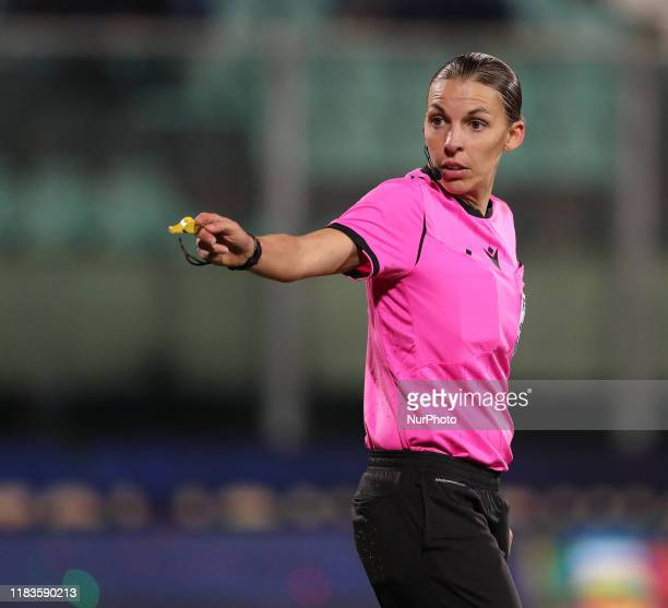Mrs Stephanie Frappart, referee, during the UEFA U21 European Championship Qualifier match between Italy and Armenia at Stadio Angelo Massimino on...