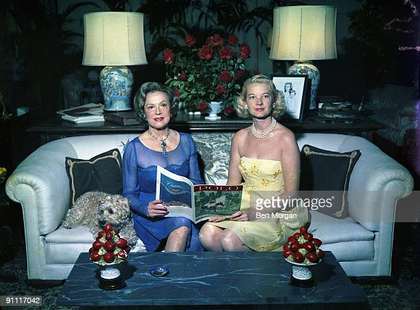 Mrs Stephen Sanford and Mrs Winston Guest the former Lucy Douglas Cochrane aka CZ Guest at the Sanford residence in Pam Beach Florida ca1960s