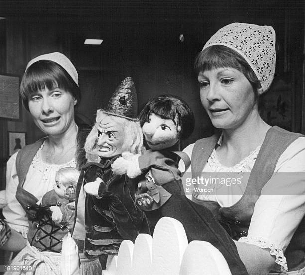 JUN 19 1973 JUN 24 1973 Mrs Sweeney leftand Mrs Davis display a few of their decorative puppets The wicked witch stands out in center