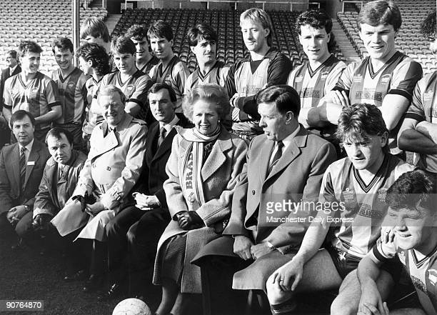 Mrs Thatcher poses for a team picture with Bradford FC during her visit to the club�. Margaret Hilda Thatcher studied chemistry at Oxford University,...